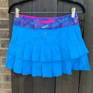 Lululemon Ivivva Girls Blue Set The Pace Skirt 14